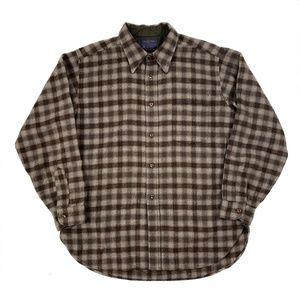 Pendleton Virgin Wool Brown Plaid Longsleeve Shirt